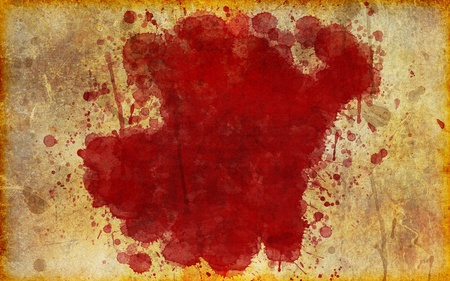 Illustration of a blood stain splattered on old, yellowed, aged grunge parchment. Standard-Bild