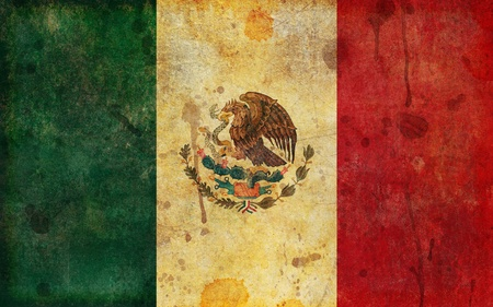 An old, faded, aged and worn Mexican flag in a grunge illustration style.