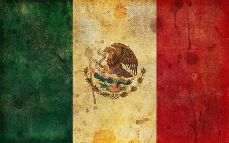 drapeau mexicain: Un vieux, drapeau décoloré, vieilli et usé du Mexique dans un style grunge illustration.
