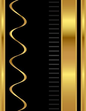 lettres en or: Un or et noir, A4 simple et propre, �l�gant et professionnel de style vecteur de fond stationnaires mod�le. Illustration