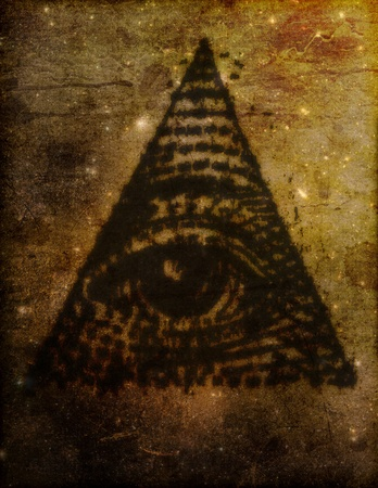 esoteric: Stylized, artistic illustration of the Eye of Providence, or All Seeing Eye, symbol sometimes related to the Illuminati.
