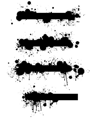 A collection of four highly detailed grunge splatter banner design elements in vector format.