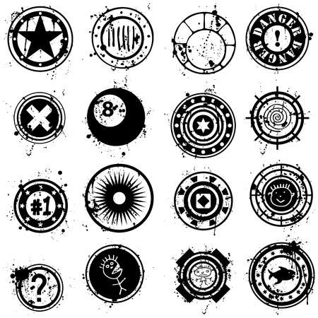 A vector set of detailed grunge style brushes, symbols or stamps illustrations.