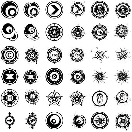 spattered: Un conjunto de alto nivel de detalle, los cepillos de alta resoluci�n de vectores o de goma calcoman�as tipo de sello o de los emblemas de un estilo de ilustraci�n del grunge.
