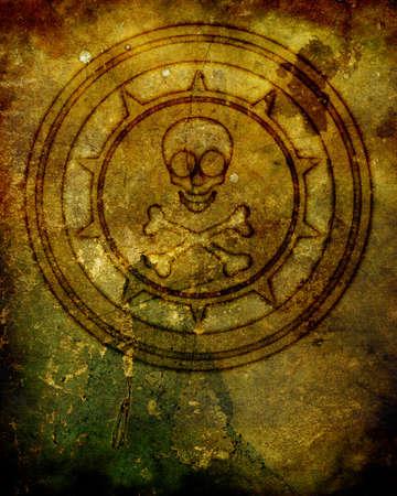 mildew: A skull and Crossbones (Jolly Roger) burned into an old, decript wall.