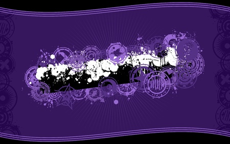 widescreen: A vector background design in purple color scheme and standard wide-screen aspect ratio in grunge illustration style with a central splatter banner graphic and space for your copy. Illustration