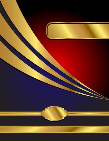 手紙のサイズ、テキストのスペースを持つ青、赤および金、商業スタイルのベクトルの背景。