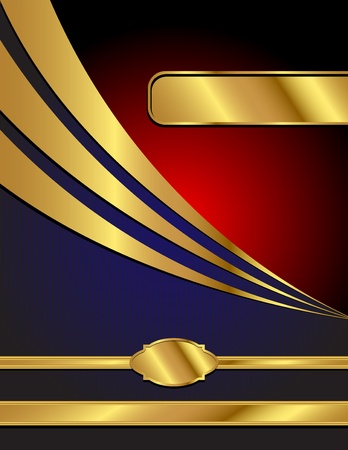 A letter sized, blue, red and gold, commercial style vector background with space for your text.