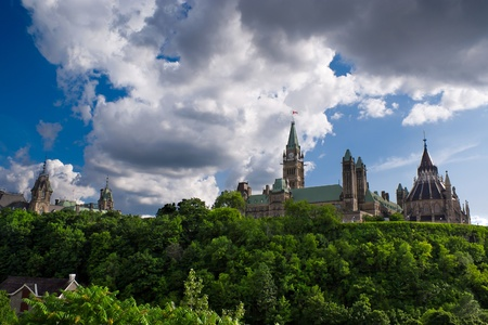 The Canadian Parliament buildings sit atop historical Parliament Hill in Canadas capital city Ottawa. photo
