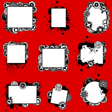 A collection of nine unique, hand-drawn grunge style vector frames or display cards with splatters and various artistic grunge buttons. Illusztráció