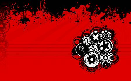 discs: A unique grunge vector background image with splatters and grunge discs in a standard widescreen display format perfect as a web background image. Illustration