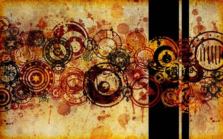 discs: A grunge, abstract composition on a faux paper or parchment type of surface.
