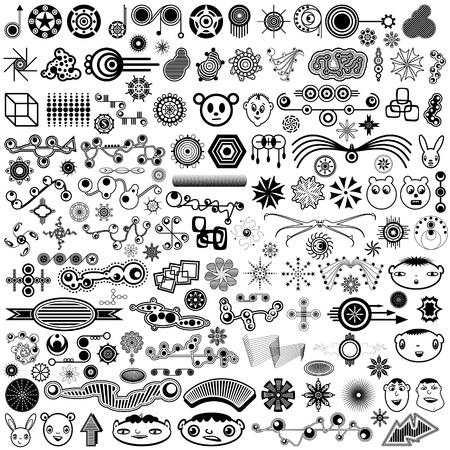 様々 な独自性の高い、ユニークなトレンディなデザイン要素またはブラシの巨大なセットの図を設定します。