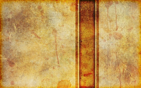 yellowed: An ancient, stained and dirty piece of yellowed parchment background with vertical stripe design.  Stock Photo
