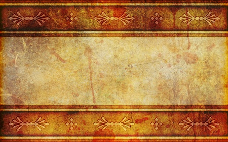 An old, damaged, faded and stained paper or parchment background with space for your text. Archivio Fotografico