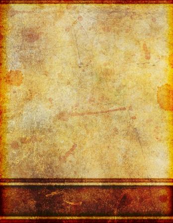 ボーダー設計と非常に古い、黄変やステンド グラスの汚れた羊皮紙の背景イメージです。