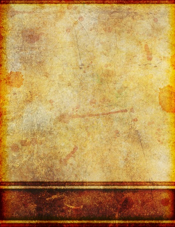 a4 background: Background image of very old, yellowed and stained grungy parchment with border design.