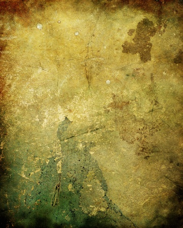 An ancient, rotten, moldy plaster wall background or texture with fungus and mildew