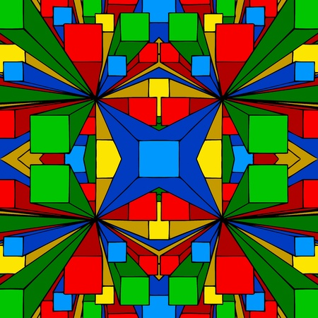 primary colors: A seamless abstract background illustration of three dimensional colored boxes. Stock Photo