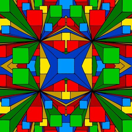 cubismo: Una ilustraci�n de fondo sin fisuras resumen de tres cajas de colores dimensiones. Foto de archivo