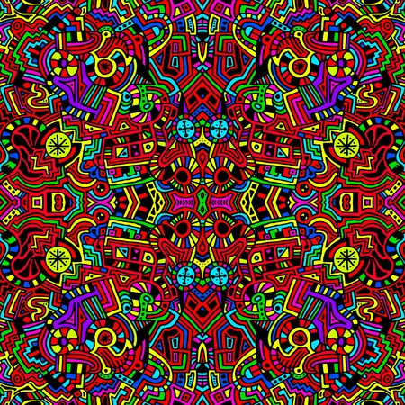 Een unieke, naadloze zeer kleurrijk en helder, abstracte, moderne kunst stijl achtergrond illustratie. Stockfoto