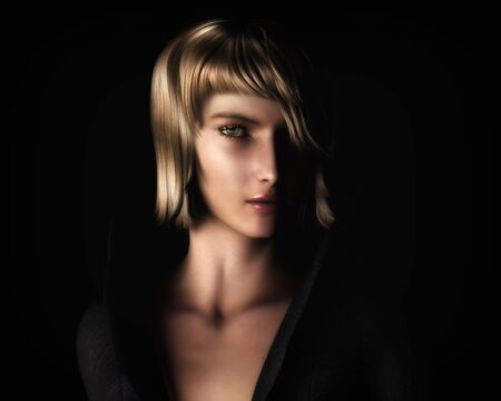 cgi: Digital illustration portrait of a beautiful, young blonde woman in a classic chiaroscuro lighting style.