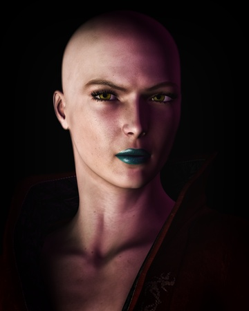 Digital illustration of a strong, futuristic sci-fi looking bald woman in heavy dark shadow.