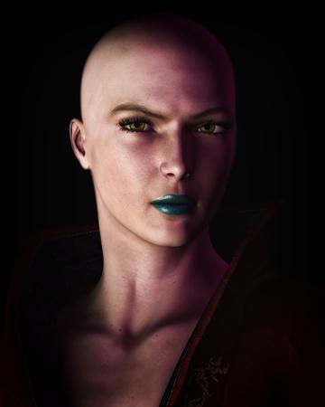 Digital illustration of a strong, futuristic sci-fi looking bald woman in heavy dark shadow.