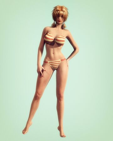 render: A vintage style illustration of a classic pin-up style girl in striped bikini.