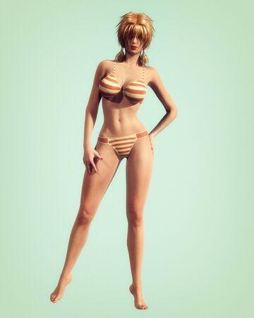busty: Een vintage stijl illustratie van een klassieke pin-up stijl meisje in gestreepte bikini. Stockfoto