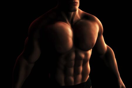 A Digital Illustration of a male bodybuilder's torso in dynamic light and shadow. Stock Illustration - 12474854