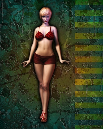 Digital illustration of an illustrated, sexy girl in bikini posing against artistic grunge abstract background. illustration