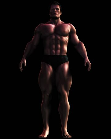 fullbody: Digital illustration of an imposing, large male bodybuilder figure. Stock Photo