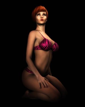 A digital illustration of an attractive female model wearing hot-pink bikini. Stock Illustration - 12474858