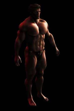 Illustration of a large, menacing looking, muscular male bodybuilder standing in dark shadow. Stock Illustration - 12474862