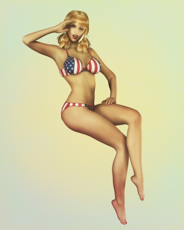buxom: A retro styled vintage pinup illustration of a sexy blond model in USA flag bikini saluting. Stock Photo