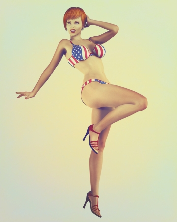 Digital illustration of a classic pinup model in a vintage, retro style wearing American flag bikini.