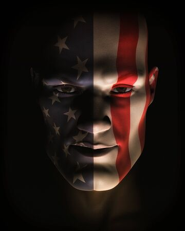 A close-up, digital illustration of man in dynamic light and shadow wearing American flag face paint. illustration
