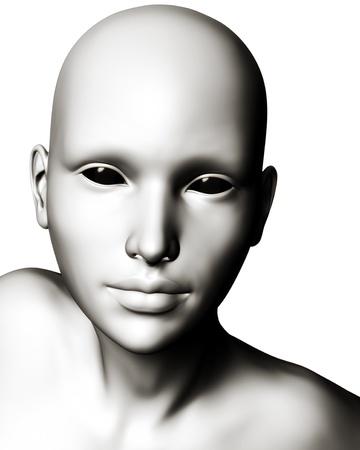 creepy: Digital illustration of a bizarre, futuristic sci-fi alien or cyborg type creature. Stock Photo