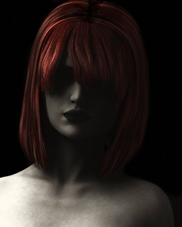 auburn: Fine Art style digital illustration textured and grainy of beautiful woman in deep shadow with red hair.
