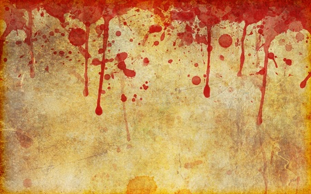 grunge background: An old, stained, aged and damaged page of parchment with dripping and splattered blood stains across the top..