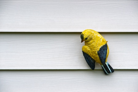 clinging: A ceramic carving of a small, yellow bird clinging to white wall.