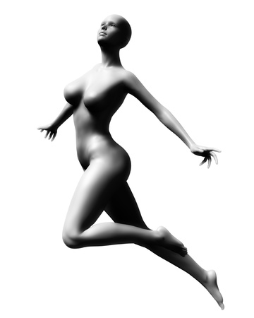 levitating: Futuristic illustration of analien, android, or cyborg female isolated on a white background.