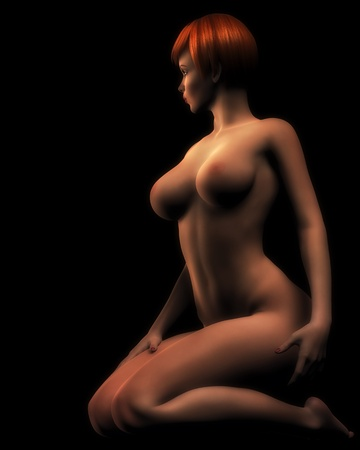 boobs: Nude illustration of redheaded glamor model kneeling in soft light. Stock Photo