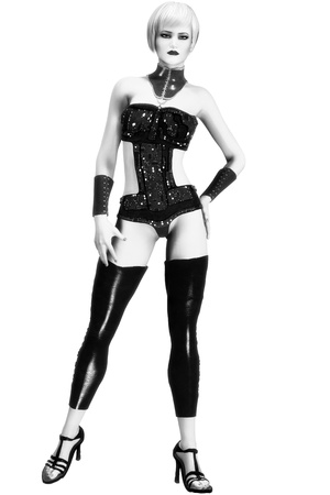 fullbody: Photo-realistic, Black and white Illustration of a sexy, short-haired fashion model in futuristic, avant-garde clothing.