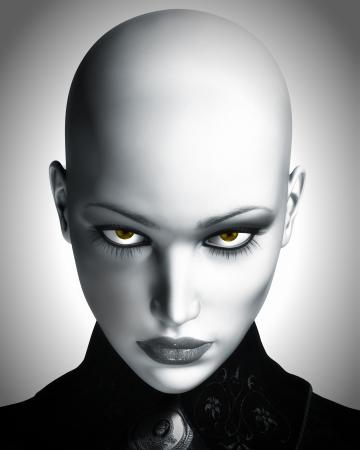 카메라를 쳐다보고 아름다운, 대머리, 미래 여자의 흑백 디지털 그림입니다.