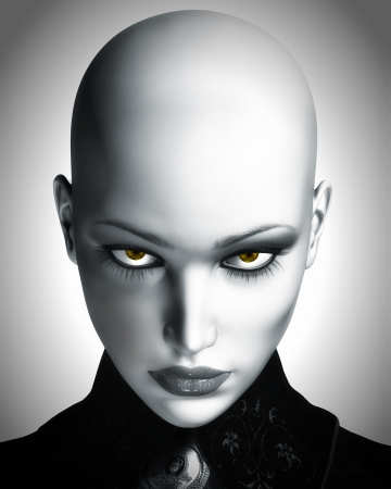 A black and white digital illustration of a beautiful, bald, futuristic woman staring into camera.