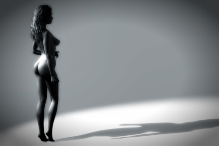 Digital illustration of a nude, female casting a long shadow - softly lit from behind. Stock Illustration - 15205366