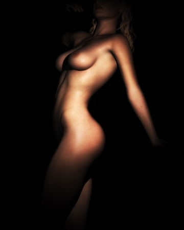 A photo-realistic digital illustration of a young, fit, nude female torso in dynamic light and shadow.