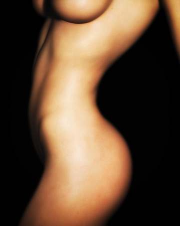 A photo-realistic illustration of a nude, caucasian female torso. Stockfoto